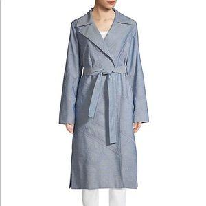 Lafayette 148 Dusty Blue Embellished Trench Coat